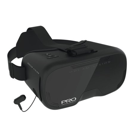 Headset Retail Box - Tzumi Dream Vision PRO VR Virtual Reality Headset, Built-In Control Pad & Retractable Ear Buds with Microphone, Fits All Phones Up To 6-Inch, 360 Video Capability (Black) (New Open Box)