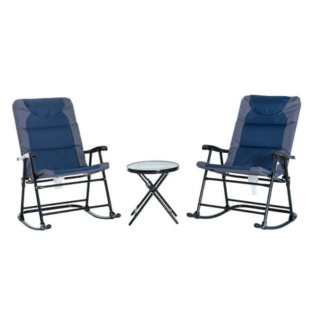Outsunny 3-Piece Folding Outdoor Rocking Chair and Table Set - Blue and Grey