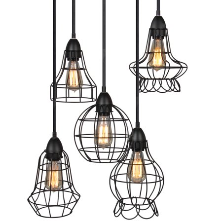 Best Choice Products 5-Light Industrial Steel Hanging Pendant Cage Lighting Fixture w/ Adjustable Cord Lengths - Black (Light Oblong Pendant Fixture)