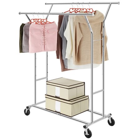LANGRIA Collapsible Adjustable Double Rail Rolling Garment Rack  Clothing Drying Rack Hanging Rack (GARMENT 2) LANGRIA Collapsible Adjustable Double Rail Rolling Garment RackClothing Drying Rack Hanging Rack, ChromeFeatures:ADJUSTABLE: the unit can be expanded both vertically(H: 58.3\ /63.4\ /67.7\ ) with 3 pre-drilled positions and horizontally (W:50.8\ -74.4\ ) with the extension rods, giving you room for longer garments suchas coats and the ability to hang more clothesWEIGHT CAPACITY: our unit is 21.6 lbs in weight and canhold up to 250 pounds of weight, letting you hang ample amounts of clothing.LANGRIA recommends hanging heavier items closer to the supports in order toprevent long-term bending of the barEASY ASSEMBLY: our rack can be assembled without anytools, letting you get organized faster than beforeCOLLAPSIBLE: our unit collapses and can be carried andeasily transported between locations perfect for household storage and businessclothes display useCASTERS: 4 heavy-duty omnidirectional casters (2 withlocking brake) allow you to move the rack from one place to another with easeand keep it in place when stability is neededDescription:Great for those who need extra hanging storage space,this attractive and functional garment rack is a nice addition to any laundryroom, bedroom, or foyer. Smooth rolling casters allow the rack moves easily fromroom to room. Features an adjustable hanging bar that raises to accommodate longdresses or coats and extends in width for extra hanging space. And the two lowerbars can be used for extra storage.KINDLY NOTE: Casters are coated with a layer ofrust-preventive oil that might generate odor, however, you can clean it with atissue or a cloth if you are extremely sensitive with the scent.Specification:Dimensions (W  D  H): 50.8-74.4  21.7  58.3/63.4/67.7inches (129-189  55  148/161/172 cm) Lower bar width: 41.7 inches (106cm)Gross weight: 21.6 lbs