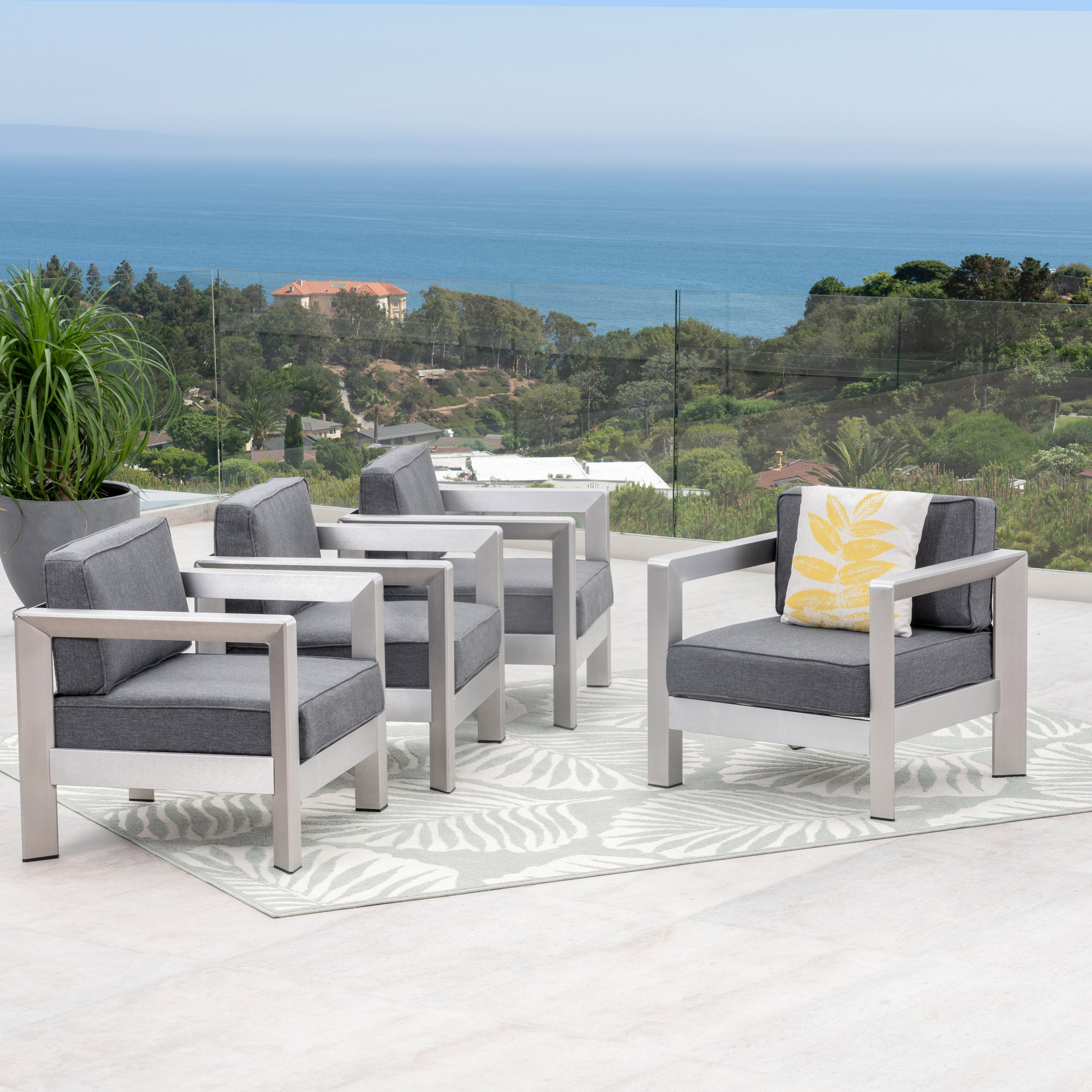 Darius Outdoor Aluminum Club Chairs, Set of 4, Sliver, Khaki