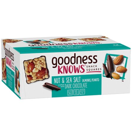 goodnessKNOWS, Peanut, Almond, Sea Salt & Dark Chocolate Gluten Free Snack Square Bars, 12 -