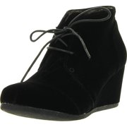Forever Link Womens Patricia-01 Lace Up Faux Suede Ankle Wedge Booties