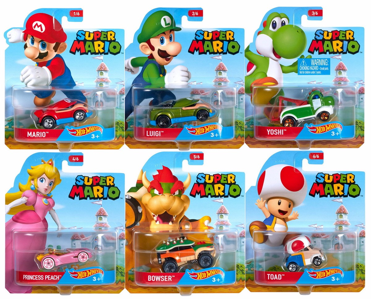 Hot Wheels 1 64 Super Mario Character Cars Set of 6 Collectible Die Cast Toy Car Models by
