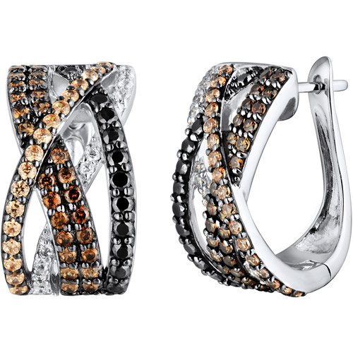 3.39 Carat T.G.W. Black, Brown, Champagne and White CZ Sterling Silver Hoop Earrings