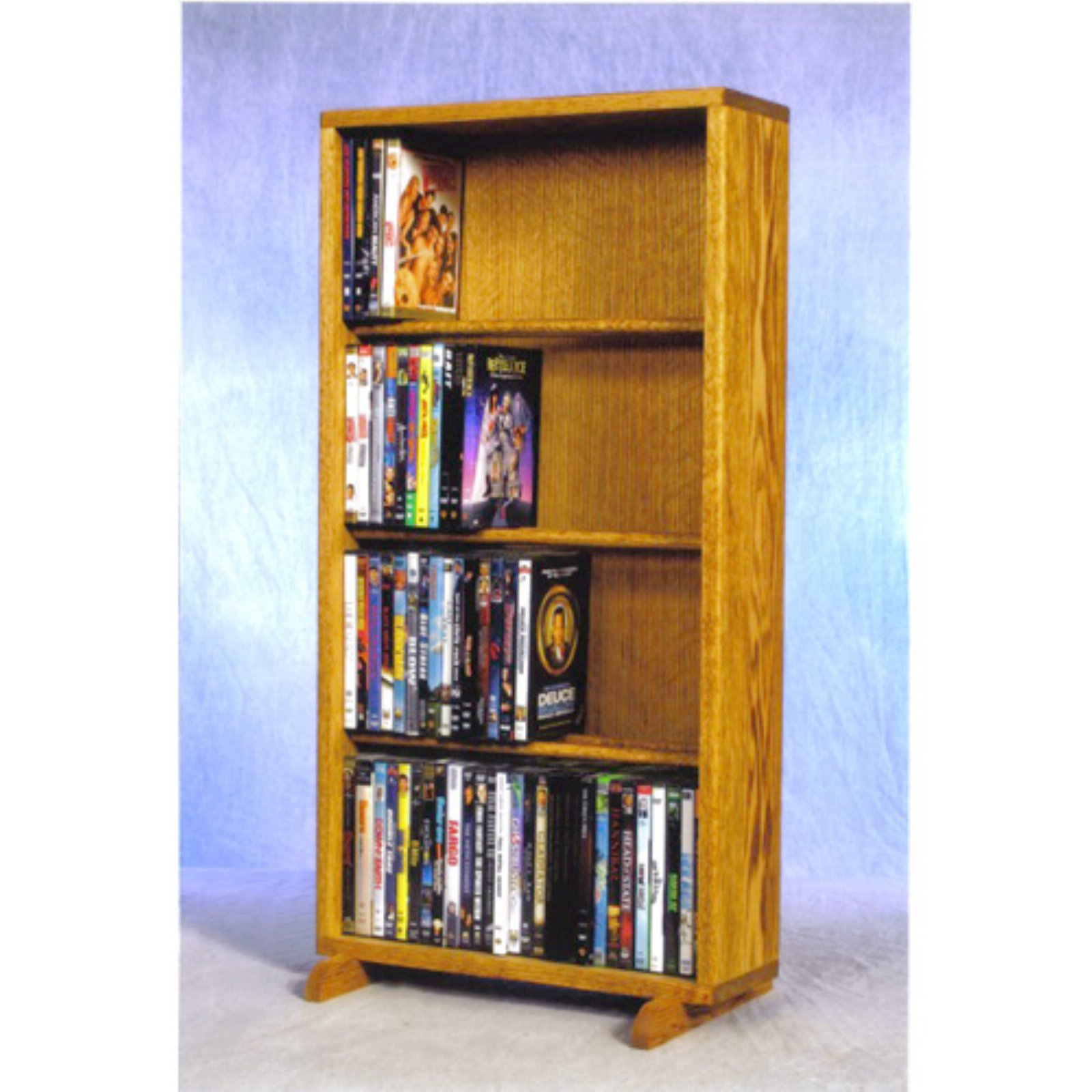 The Wood Shed Solid Oak 4 Row Dowel CD   DVD Combination Media Rack 18 in. Wide by The Wood Shed