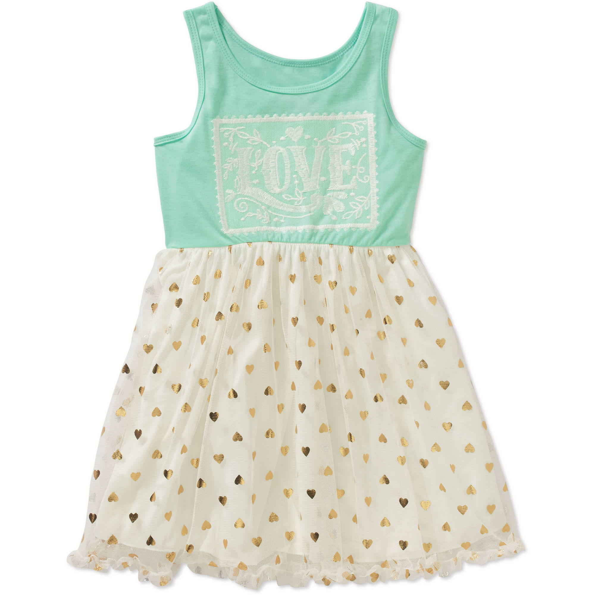 Colette Lilly Little Girls' Tulle Box Sleeveless Tulle Dress with Crochet Art