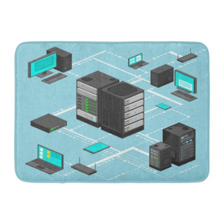 GODPOK Arrow File Data Network Management Isometric Map with Networking Servers Computers and Device Cloud Flat Rug Doormat Bath Mat 23.6x15.7 inch