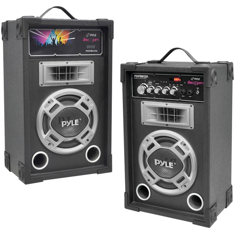 Pyle Pro Dual 800-Watt Disco Jam Powered 2-Way PA Speaker System with Auxiliary Jack