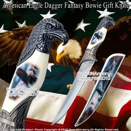 - American Bold Eagle Dagger Fantasy Bowie Gift Knife with Printed Scabbard