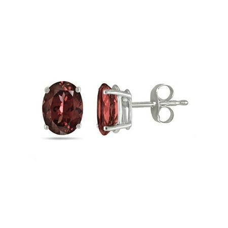 Jewelers 14K Solid White Gold Garnet Genuine Gemstone Oval Stud Earring BOXED