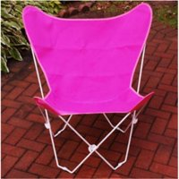 "35"" Retro Style Outdoor Patio Butterfly Chair with Pink Cotton Duck Fabric Cover"