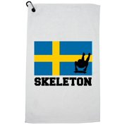 Sweden Olympic - Skeleton - Flag - Silhouette Golf Towel with Carabiner Clip