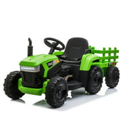 Tobbi Ride On Tractor and Trailer 12V Battery Powered Agricultural Vehicle Toy with LED Lights and USB&Bluetooth Audio Functions
