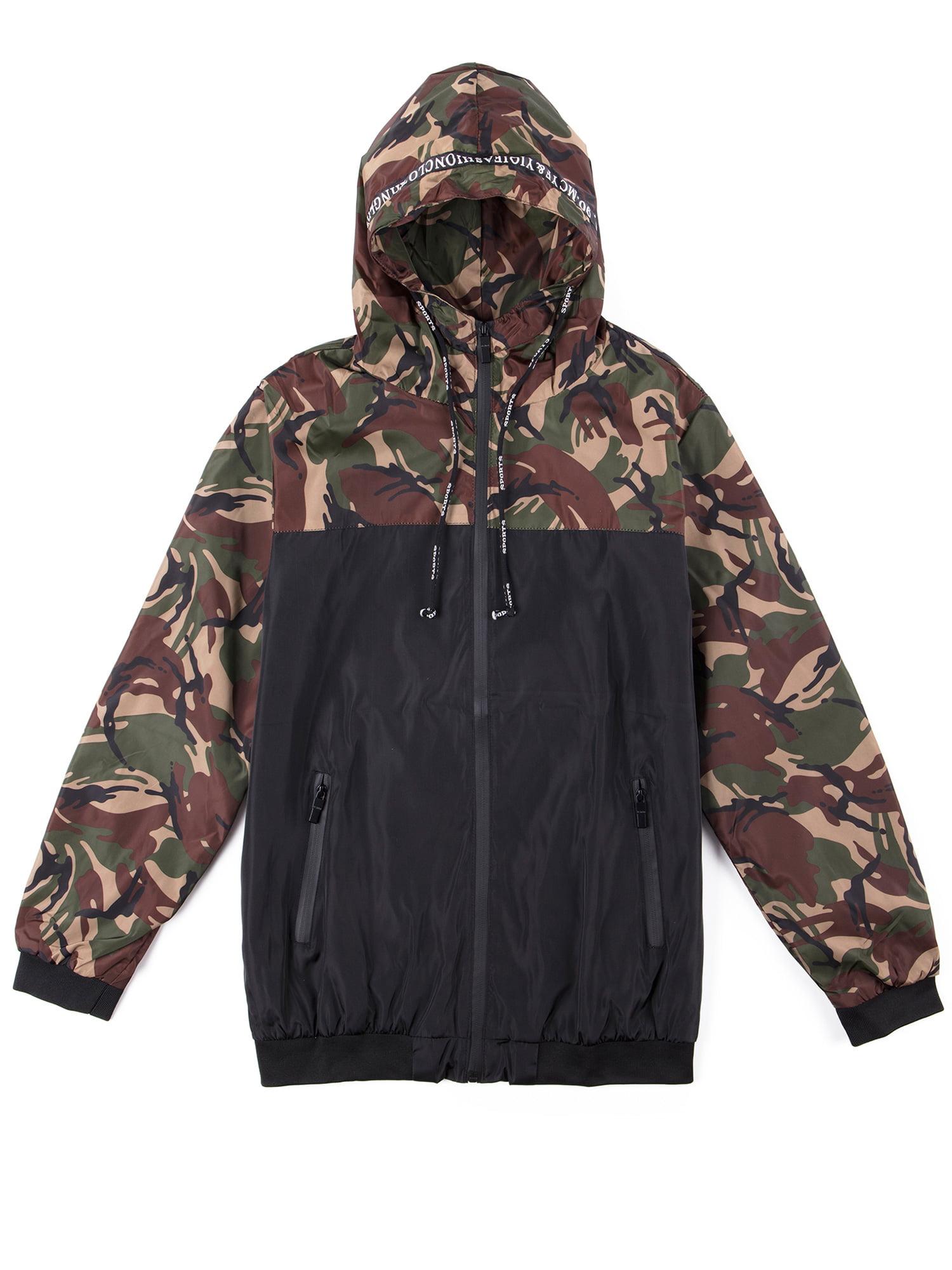 6e77252352fc9 SAYFUT - Big and Tall Men's Hooded Jackets Zip Up Jacket Camo Sweatshirt  Hooded Windbreaker Jacket Coat Outwear M-6XL - Walmart.com