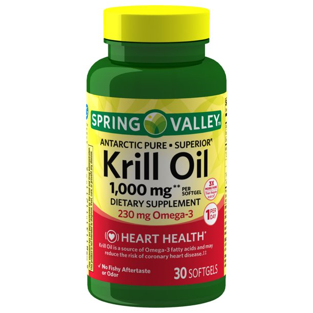 Spring Valley Antarctic Pure Krill Oil Softgels, 350 mg, 60 Count