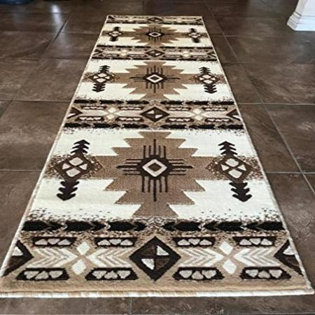 Southwest Native American Runner Area Rug Ivory Design C318 2 Feet