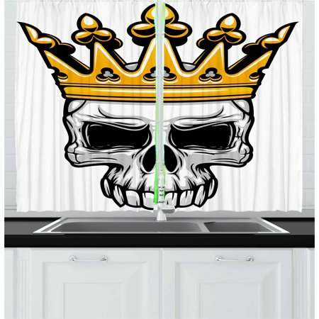 Halloween Themed Cafe (King Curtains 2 Panels Set, Hand Drawn Crowned Skull Cranium with Coronet Tiara Halloween Themed Image, Window Drapes for Living Room Bedroom, 55W X 39L Inches, Golden and Pale Grey,)