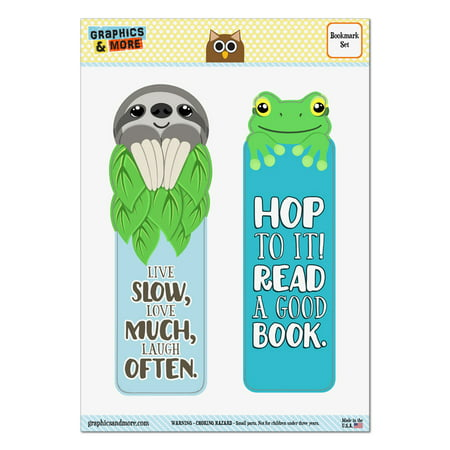 Sloth Live Slow Love Much Laugh Often Frog Hop To It Read Set of 2 Bookmarks