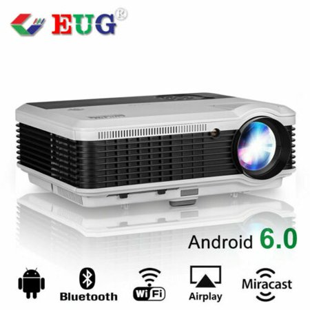6000 Lumens Projector Wireless LED Android Bluetooth Smart Cinema Wifi HD