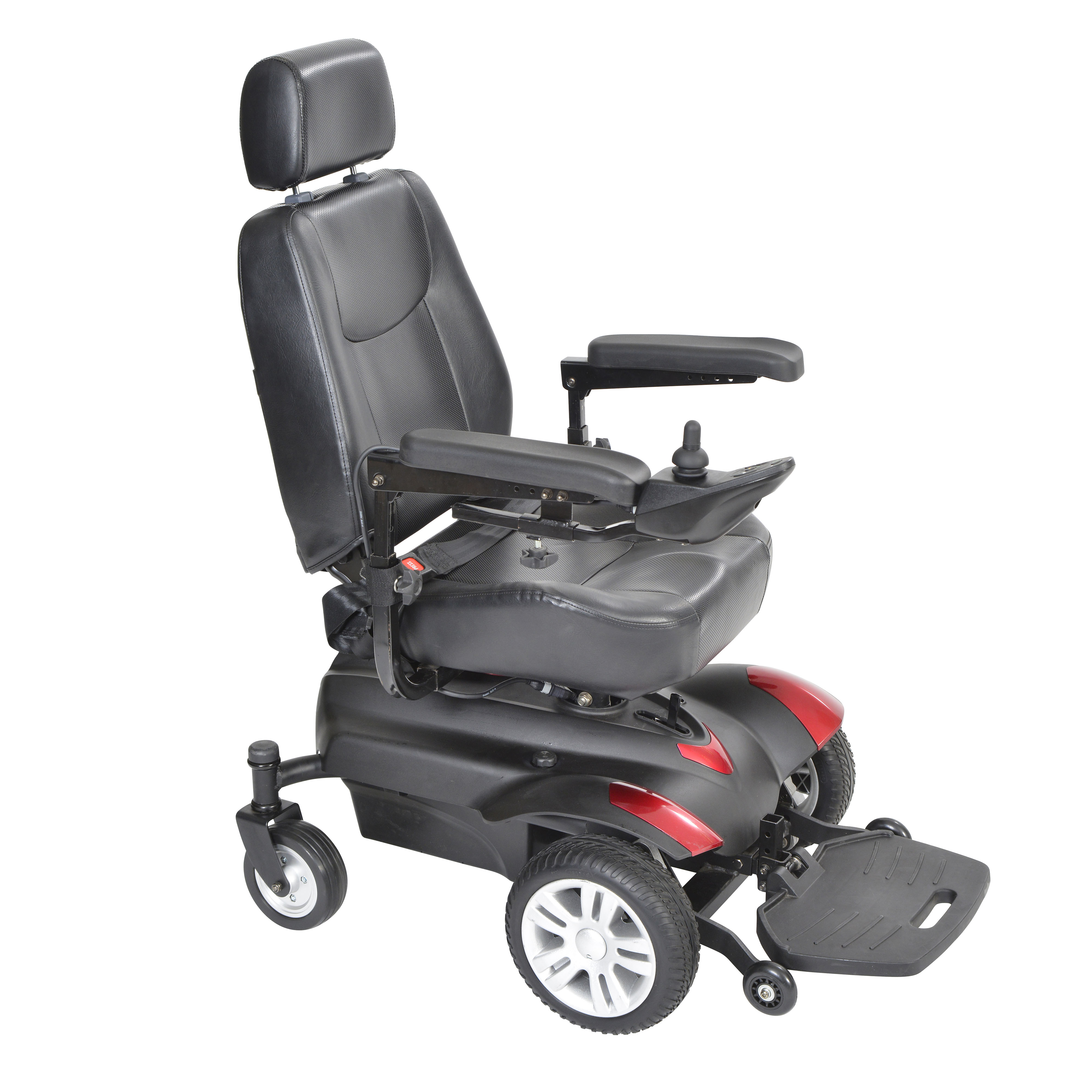 "Drive Medical Titan Transportable Front Wheel Power Wheelchair, Full Back Captain's Seat, 16"" x 18"""