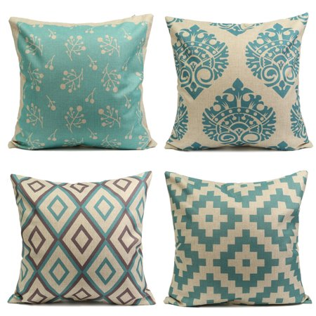 Vintage Light Green (Meigar Vintage Aqua Mint Green Decorative Throw Pillow Case Cushion Cover Clearance 18x18 inch Square Zipper Waist Pillowcase Pillow Protector Slip Cases Sham for Home Bedroom )