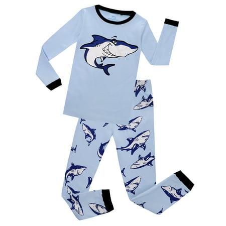Elowel Boys Whale 2 Piece Pajama Set 100% Cotton(Size 2-12) - Pj For Boys