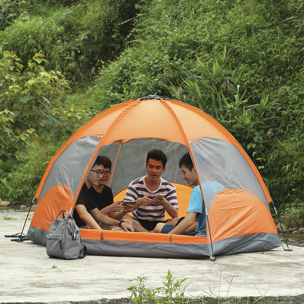8x8 Foot 4 Person Huge Camping Tent Family Instant Tent