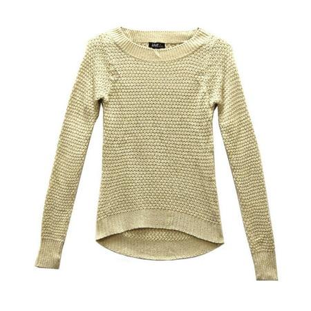 White Box Chelsea (Love by Chelsea Open Knit Sweater Beige White Maroon Black Sz S M L A0161RM (Beige,S))