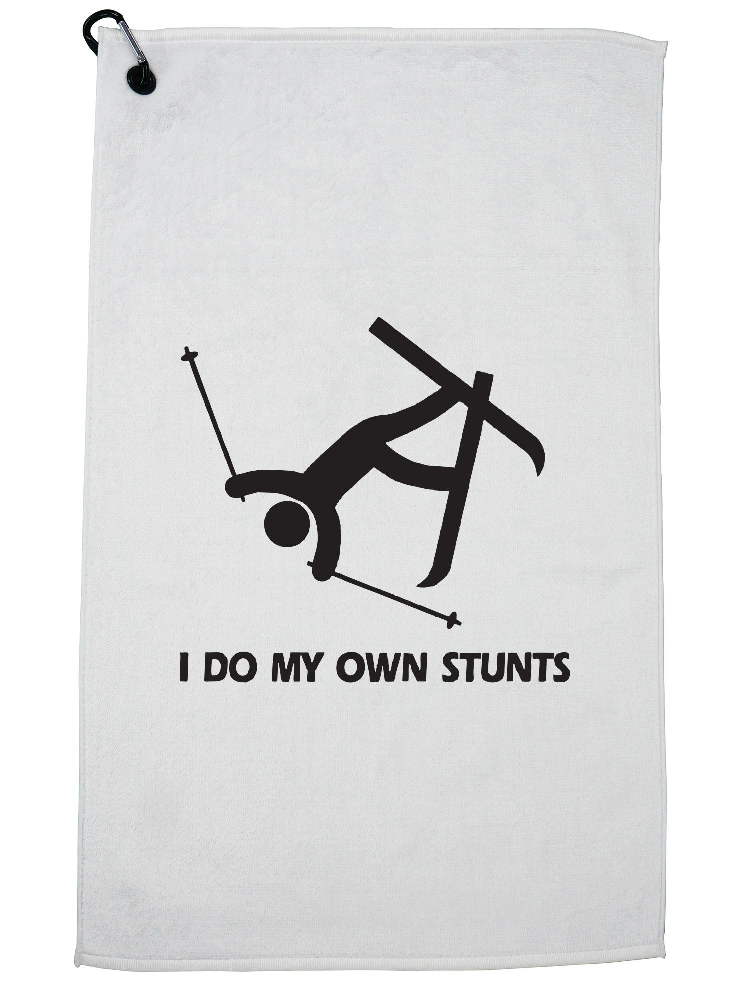 Skiing I Do My Own Stunts Hilarious Graphic Golf Towel with Carabiner Clip by Hollywood Thread