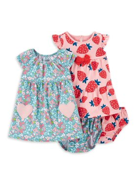 Child of Mine by Carter's Baby Girls' Short Sleeve Dress and Diaper Cover, 2 Pack