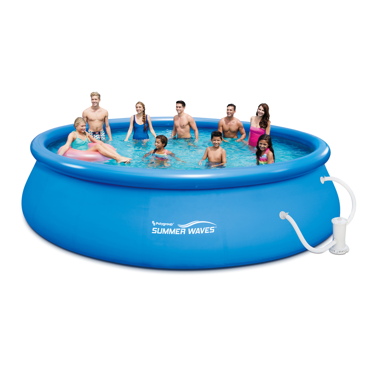 "Summer Waves 18' x 48"" Quick Set Above Ground Swimming Pool with Filter Pump System And Deluxe Accessory Set"