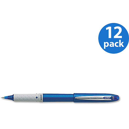 Uni-Ball Grip Roller Ball Pens, Blue, 12-Pack