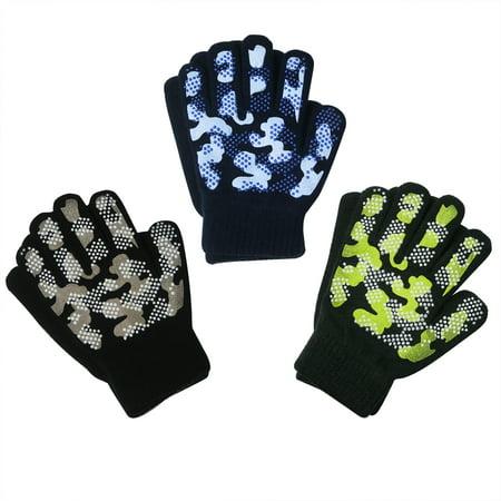 EvridWear Boys Girls Magic Stretch Gripper Gloves 3 Pair Pack Assortment, Kids One Size Winter Warm Gloves Children (3 Pairs Camo) Magic Coat Glove