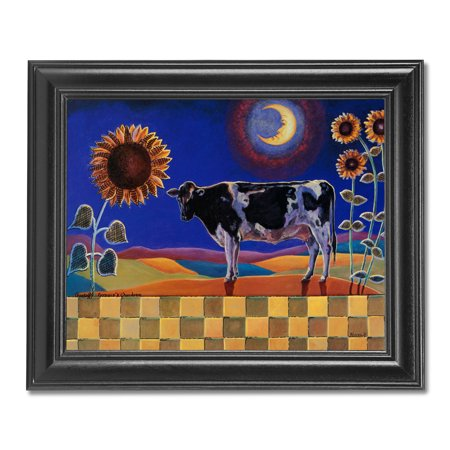 Holstein Cow w/ Sunflowers Checkerboard Farm Wall Picture Black Framed (Cow Picture Frame)