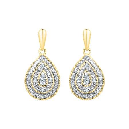 10kt Yellow Gold Womens Round Diamond Milgrain Teardrop Screwback Dangle Earrings 1/10 Cttw - image 1 de 1