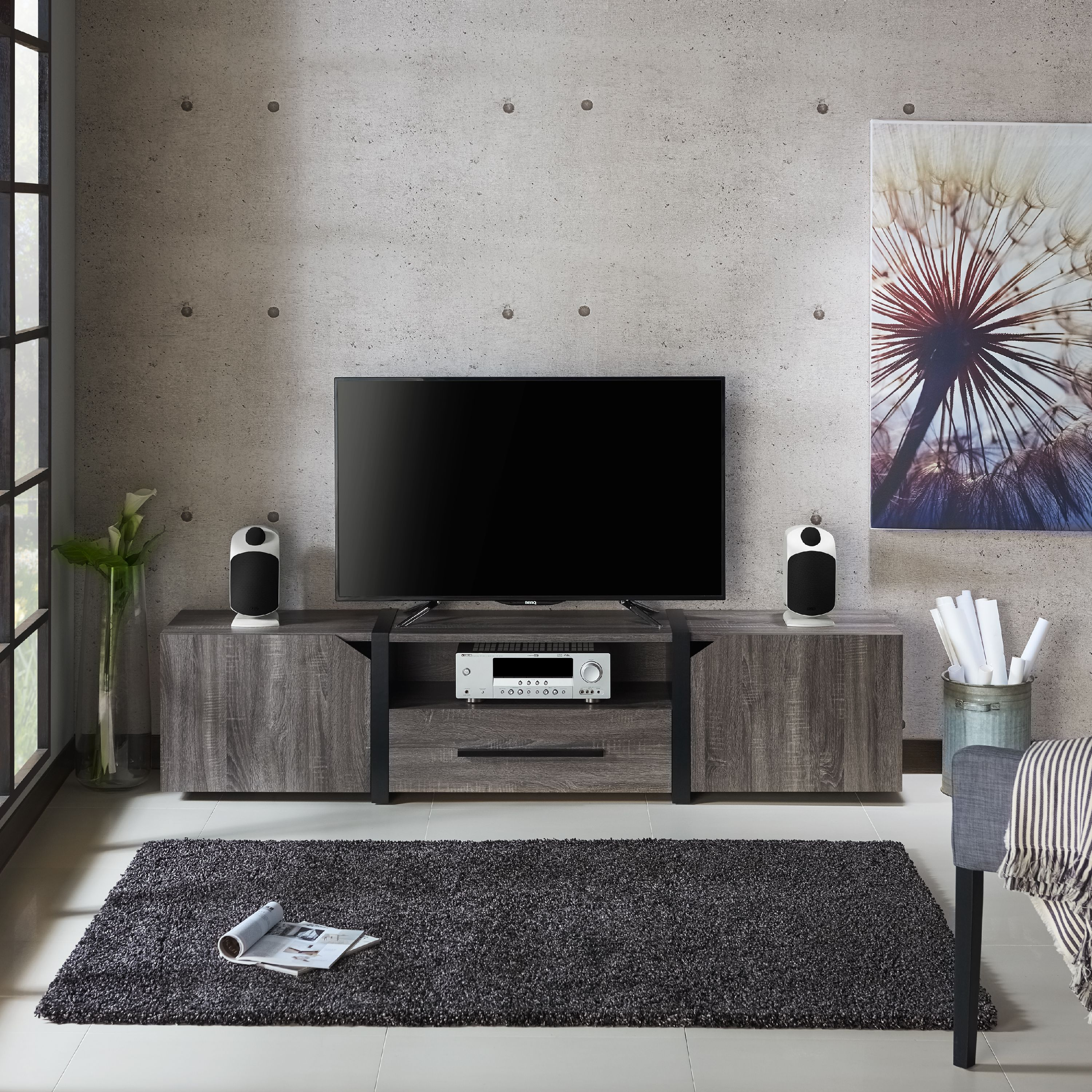 Furniture Of America Clipe Contemporary 80 Inch Tv Stand Multiple