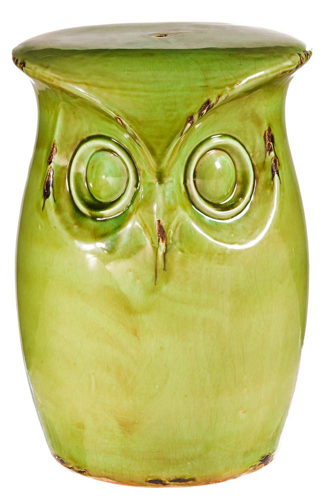 Evergreen Enterprises Fun Green Ceramic Owl Garden Stool