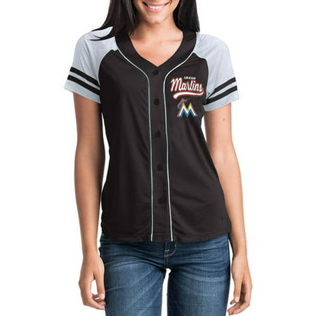 MLB Miami Marlins Women's Short Sleeve Button Down Mesh Jersey