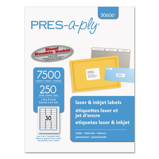 Avery Pres A Ply Labels For Laser And Inkjet Printers 1 X 2 58