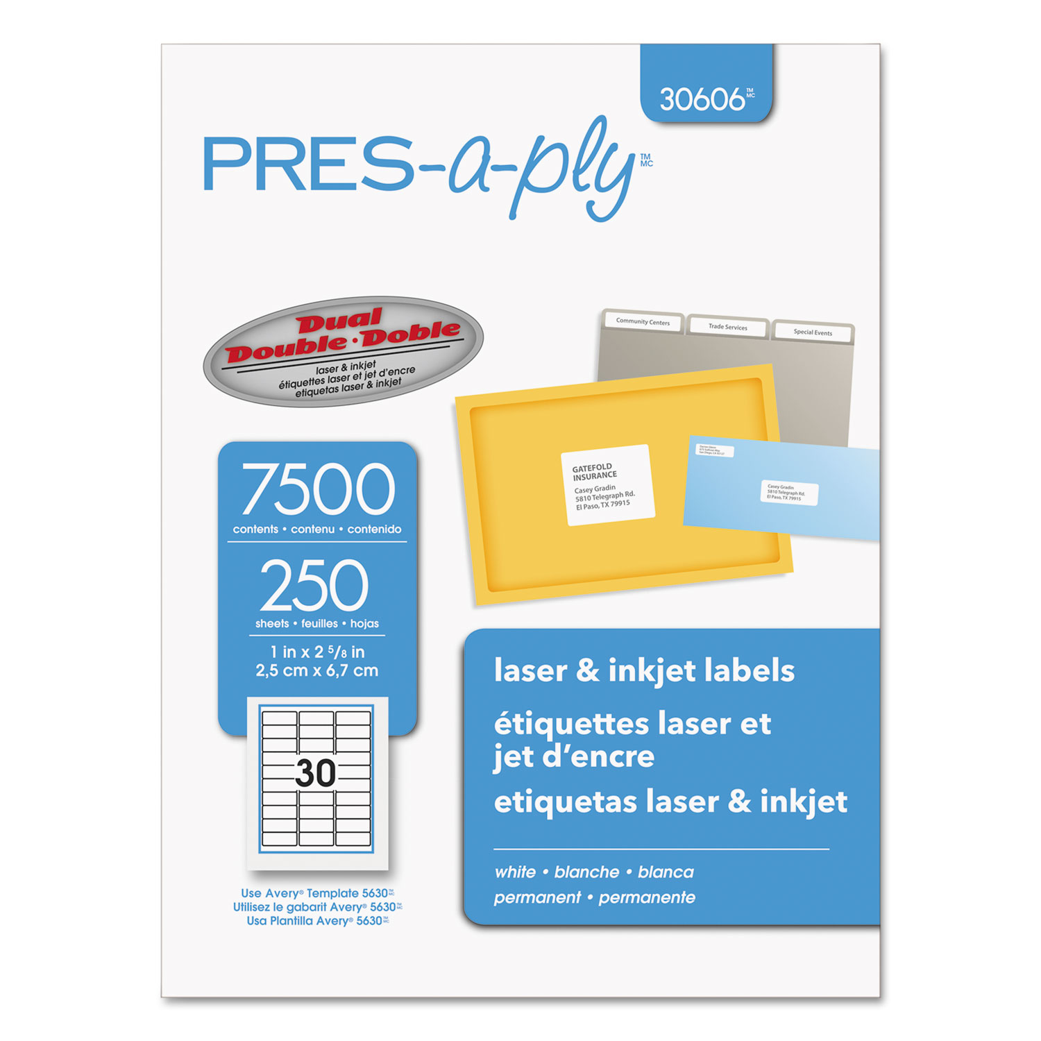 "AVERY PRES-a-ply Labels for Laser and Inkjet Printers, 1"" x 2-5/8"" labels, 8-1/2"" x 11"" sheets, White, Permanent, 30-up, 250-sheets, 7500/BX"
