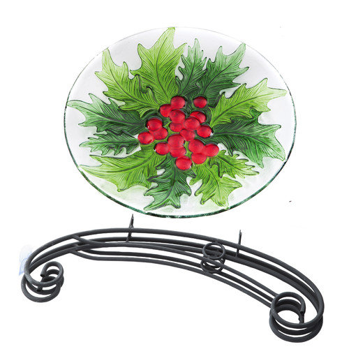 Evergreen Flag & Garden Holiday Holly and Berries Bird Bath