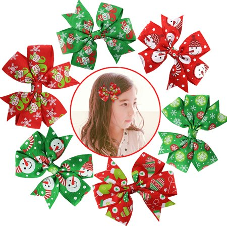 Hair Bows For Girls  Coxeer 6Pcs Christmas Ribbon Hair Bows Alligator Clips Hair Accessories For Baby Girls Kids Women