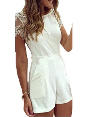 Boat Neckline Cap Sleeves Lace Back Romper set with lace panties