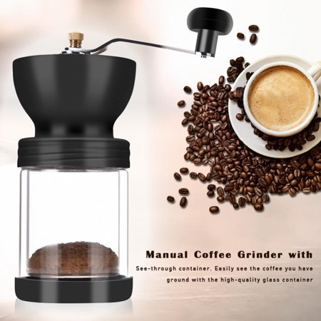 Manual Coffee Grinder with Professional Grade Burrs and Adjustable Coarseness Screw, Glass Cont,Manual Coffee Grinder, Glass Cont Burr King Belt Grinder