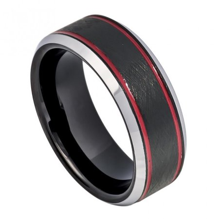 8mm Tungsten Charcoal Gray IP Plated Ice Finish with 2 Red Stripes on 2 sides, Beveled Edge Wedding Band Ring For Men Or Ladies](Red Wedding Ring)