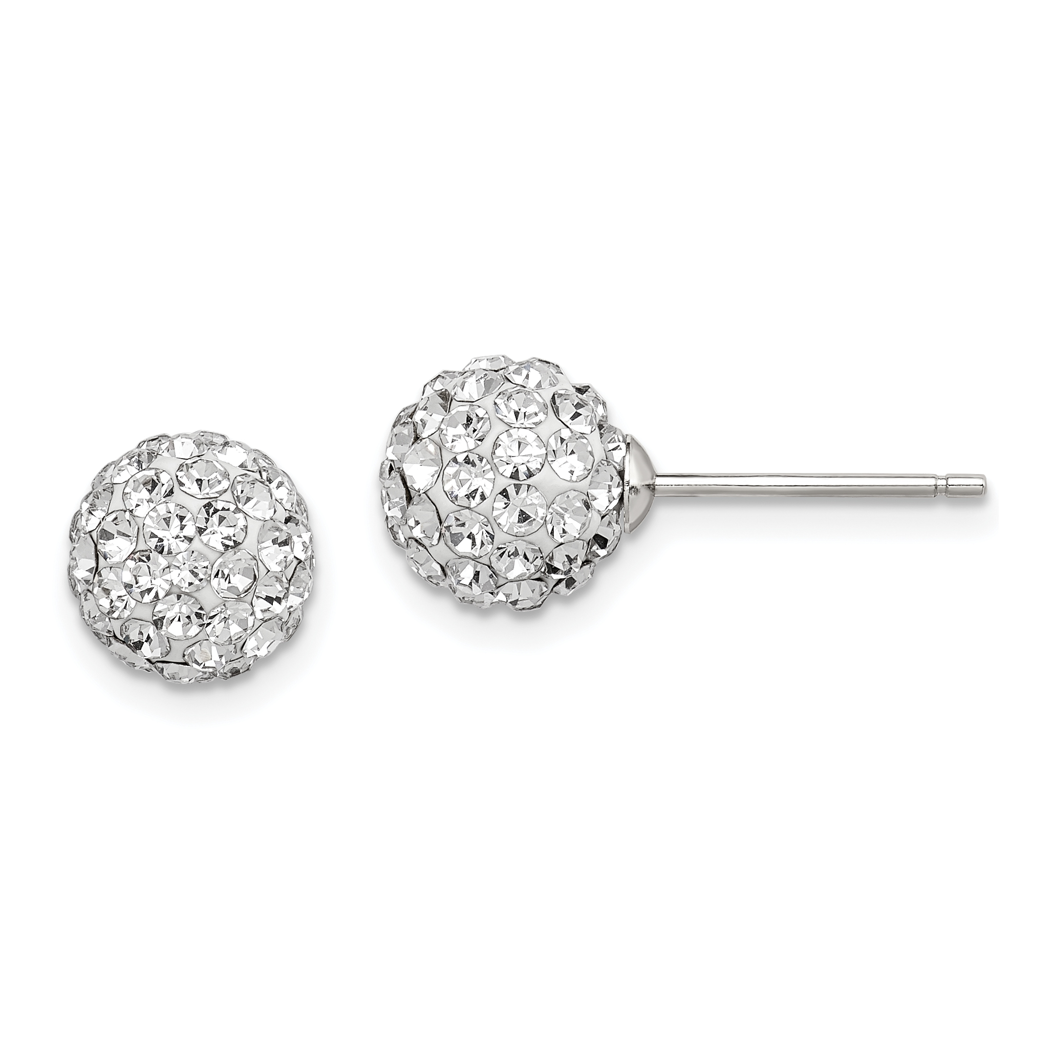 925 Sterling Silver 8mm White Czech Crystal Post Stud Earrings Ball Button Fine Jewelry Gifts For Women For Her - image 6 de 6