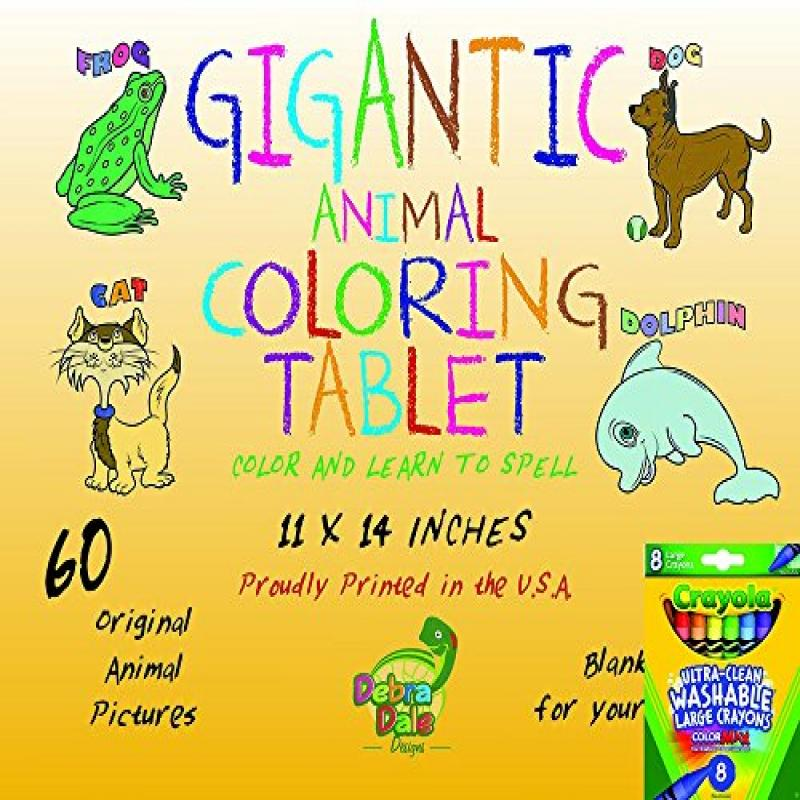 Debra Dale Designs Gigantic Animal Preschool Coloring Book for Kids With 8 Crayola Large... by