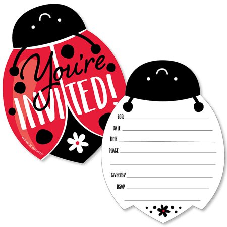 Happy Little Ladybug - Shaped Fill-in Invitations - Baby Shower or Birthday Party Invitation Cards with Envelopes - Set of 12 - Ladybug Birthday