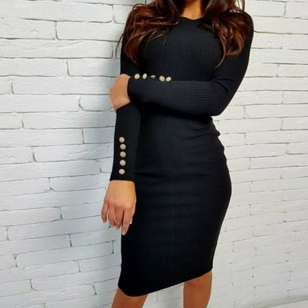 EFINNY Fashion Party Women Winter Black Casual Long Sleeve Bodycon Knitted Sweater Jumper Dress ()